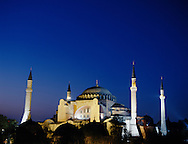 Istanbul, Turkey, Aiya Sophia Mosque at dusk.