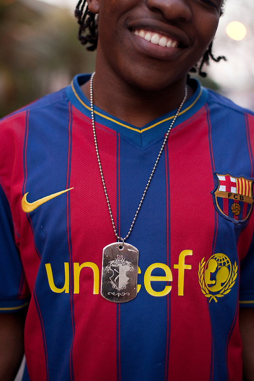 Young man posing with his F.C. Barcelona shirt in Windhoek, capital of Namibia, Africa