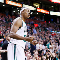 21 December 2012: Boston Celtics small forward Paul Pierce (34) celebrates during the Milwaukee Bucks 99-94 overtime victory over the Boston Celtics at the TD Garden, Boston, Massachusetts, USA.