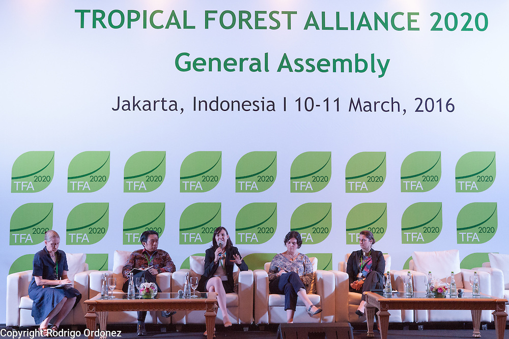 Panelists speak during a knowledge exchange session on the landscape approach at the General Assembly of the Tropical Forest Alliance 2020 in Jakarta, Indonesia, on March 11, 2016. From left to right are Frances Seymour, Senior Fellow at the Center for Global Development; Dharsono Hartono, &lrm;CEO of PT Rimba Makmur Utama; Emily Roynestad, Director of Business Development at Anthrotect; Sarah Price, Head of Projects and Development at the Programme for the Endorsement of Forest Certification (PEFC); and Kate Bottriell, Senior Programme Advisor at the United Nations Development Programme (UNDP). <br /> (Photo: Rodrigo Ordonez)