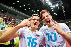 17-10-2015 BUL: Volleyball European Championship Slovenie - Italie, Sofia<br /> Semifinal in Arena Armeec Sofia / Gregor Ropret #16 of Slovenia and Jan Kozamernik #10 of Slovenia celebrate<br /> Photo: Vid Ponikvar / RHF<br /> +++USE NETHERLANDS ONLY+++