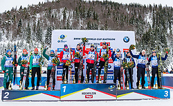 10.12.2017, Biathlonarena, Hochfilzen, AUT, IBU Weltcup Biathlon, Hochfilzen, Herren, Staffel, Siegerehrung, im Bild v.l. Erik Lesser (GER), Benedikt Doll (GER), Arnd Peiffer (GER), Simon Schempp (GER), Ole Einar Bjoerndalen (NOR), Henrik L'abee-Lund (NOR), Erlend Bjoentegaard (NOR), Lars Helge Birkeland (NOR), Jean Guillaume Beatrix (FRA), Simon Desthieux (FRA), Emilien Jacquelin (FRA), Quentin Fillon Maillet (FRA) // f.l. Erik Lesser Benedikt Doll Arnd Peiffer Simon Schempp of Germany Ole Einar Bjoerndalen Henrik L'abee-Lund Erlend Bjoentegaard Lars Helge Birkeland of Norway Jean Guillaume Beatrix Simon Desthieux Emilien Jacquelin and Quentin Fillon Maillet of France during the winner ceremony of men's Pursuit of BMW IBU Biathlon World Cup at the Biathlonarena in Hochfilzen, Austria on 2017/12/10. EXPA Pictures © 2017, PhotoCredit: EXPA/ Stefan Adelsberger