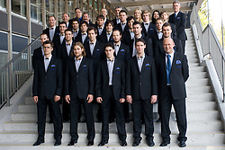 Group photo of Slovenian National team before Ice-Hockey World Championships Division I Ljubljana 2010, on April 16, 2010, in Hall Tivoli, Ljubljana, Slovenia.  (Photo by Vid Ponikvar / Sportida)