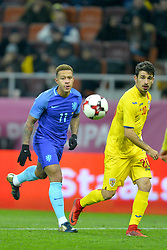 November 14, 2017 - Bucharest, Romania - Memphis Depay (Ned) vies Segiu Hanca (Rom) during the International Friendly match between Romania and Netherlands at National Arena Stadium in Bucharest, Romania, on 14 november 2017. (Credit Image: © Alex Nicodim/NurPhoto via ZUMA Press)