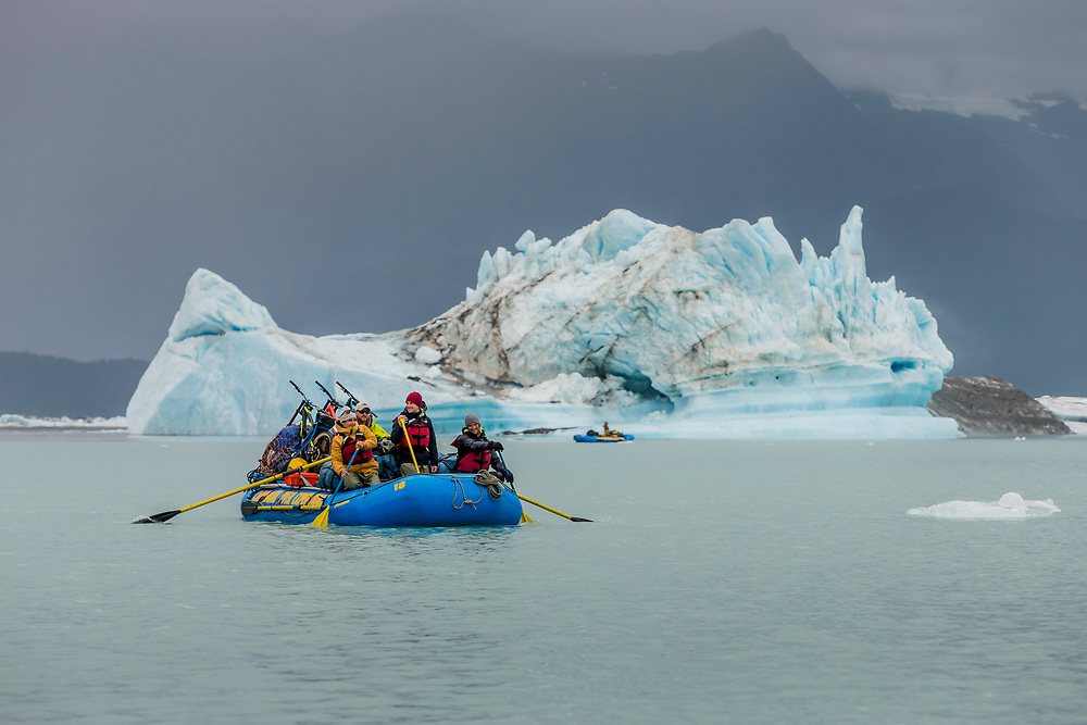 Darren Berrecloth, along with Tyler McCaul, Carson Storch and their guide Mike Neville paddle through Alsek Lake in the Tatshenshini-Alsek Provincial Park in British Columbia, Canada on September 8, 2016.