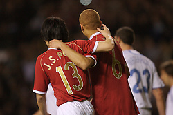 Manchester, England - Tuesday, March 13, 2007: Manchester United's Wes Brown celebrates scoring the second goal against Europe XI with his team-mate Ju-sung Park  during the UEFA Celebration Match at Old Trafford. (Pic by David Rawcliffe/Propaganda)