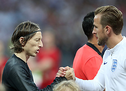 MOSCOW, July 11, 2018  Harry Kane (R) of England greets Luka Modric of Croatia prior to the 2018 FIFA World Cup semi-final match between England and Croatia in Moscow, Russia, July 11, 2018. (Credit Image: © Cao Can/Xinhua via ZUMA Wire)