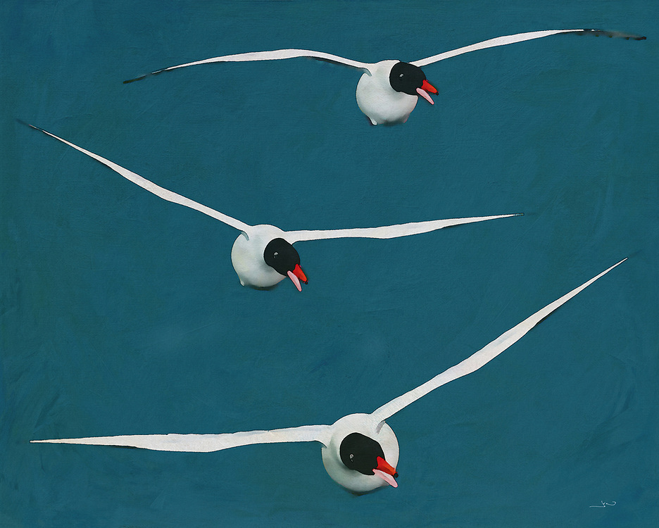 There will always be an inherent poetry to any sort of birds in the midst of flight. That thought can certainly be applied to this charming ocean scene, showcasing three brilliant examples of Black Headed Gulls. These lovely birds are captured in truly unique, visually stunning detail by the noted artist Jan Keteleer. There is an appeal to this for almost anyone. -<br />