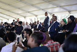JOHANNESBURG, March 29, 2017  Nkosazana Dlamini-Zuma, the former Chairperson of the African Union Commission, Deputy Secretary General of African National Congress (ANC) Jessie Duarte and Secretary General of ANC Gwede Mantashe (3rd R) attend the funeral of Ahmed Kathrada at Westpark Cemetery in Johannesburg, South Africa, on March 29, 2017. South African anti-apartheid stalwart Ahmed Kathrada died in the early hours of Tuesday morning at the age of 87.  sxk) (Credit Image: © Zhai Jianlan/Xinhua via ZUMA Wire)