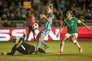 Chance for Manchester City to make it 2-0 as Jane Ross (Manchester City Women's Football Club) runs through on goal, but Maria Lindblad Christensen (Dameboldklubben Fortuna Hjørring) makes a save to deny her during the UEFA Womens Champions League quarter final second leg match between Manchester City Women and DBK Fortuna Hjorring at the Sport City Academy Stadium, Manchester, United Kingdom on 30 March 2017. Photo by Mark P Doherty.