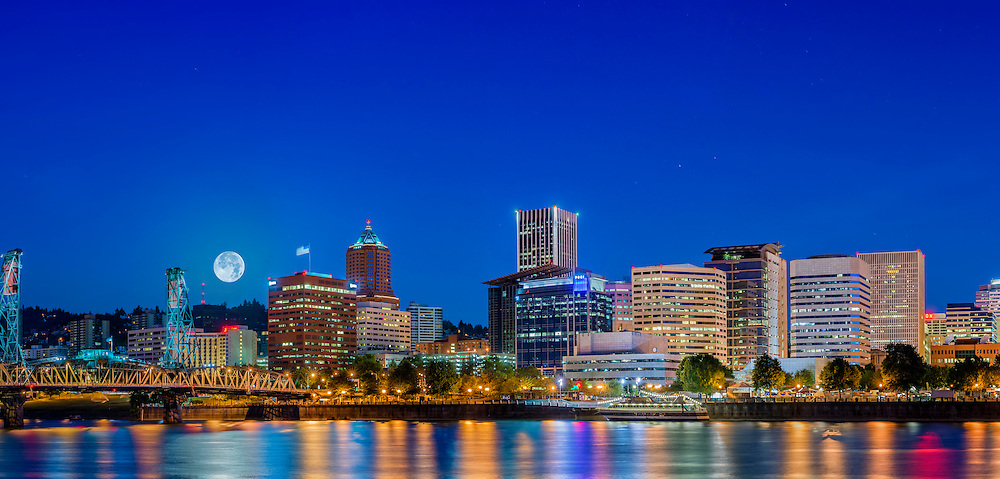 Supermoon setting over Portland Skyline. This image is available to be displayed as a very large panorama. Please contact Sankar, if you are interested.