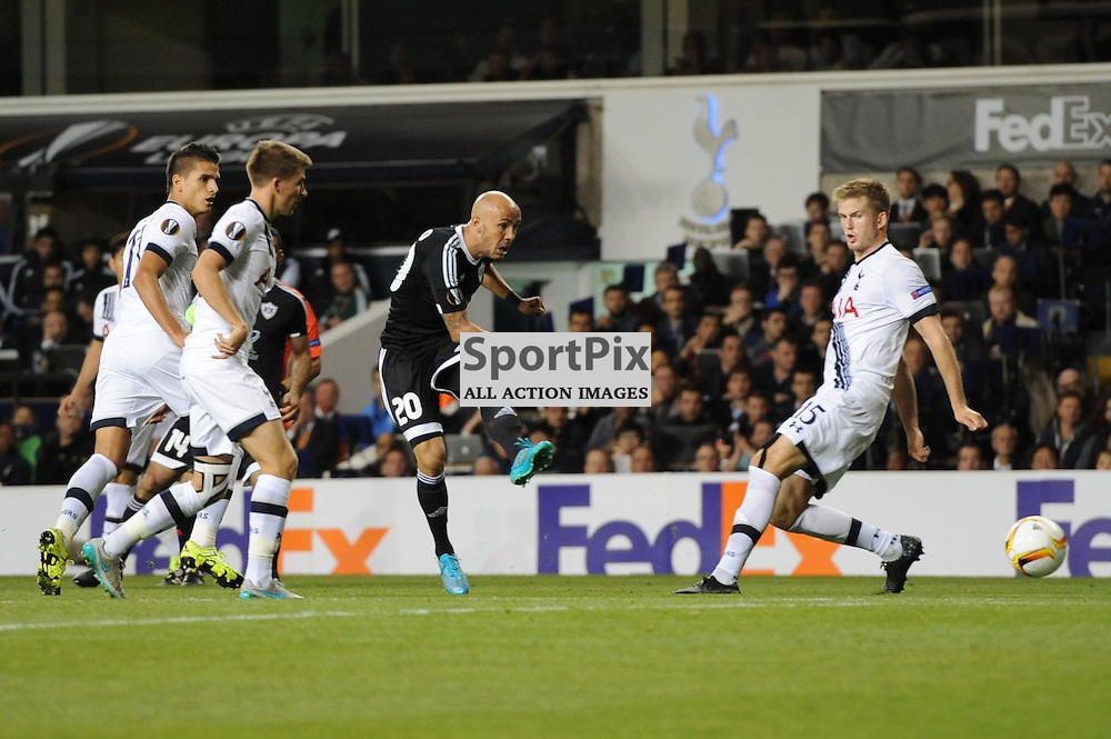 Qarabags Richard Almeida gets a shot away during the Tottenham v Qarabag match in the Europa League group stage