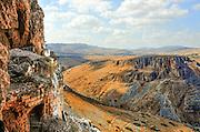 Israel, Lower Galilee, Mount Arbel overlooking the Galilee
