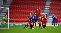 ST HELENS, ENGLAND - Wednesday, October 24, 2018: Liverpool's Rhys Williams scores the winning second goal during the UEFA Youth League Group C match between Liverpool FC and FK Crvena zvezda at Langtree Park. Liverpool's won 2-1. (Pic by David Rawcliffe/Propaganda)