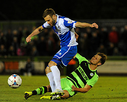 Forest Green Rovers's James Norwood tackles Bristol Rovers' Andy Monkhouse- Photo mandatory by-line: Nizaam Jones/JMP - Mobile: 07966 386802 - 29/04/2015 - SPORT - Football - Nailsworth - The New Lawn - Forest Green Rovers v Bristol Rovers - Vanarama Football Conference