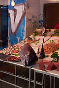 Huge tuna and swordfish heads in a fish market in, Piazza Caracciolo<br /> , Vicolo Mezzani, Palermo, Italy. (c) davewalshphoto.com
