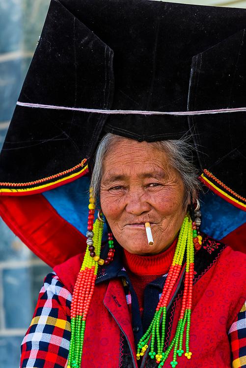 Mosuo minority woman, Shangri La (Zhongdian),  Yunnan Province, China.