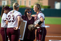 Auburn vs. Texas A&M in a NCAA softball game April 27th, 2018, in College Station, Texas.