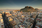 Alicante Old Quarter with castle of Santa Barbara, Alicante, Alicante province, Spain