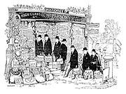(A stream of bureaucrats walk into a small village shop)