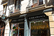 Jamones Y Embutidos de Salamanca shop selling Iberico Jamon ham and other meats in Calle de Bidebarrieta in Bilbao, Spain