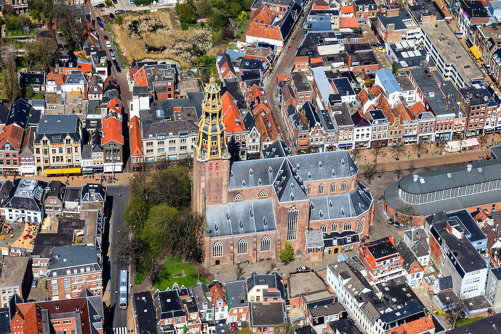 Nederland, Groningen, Groningen, 01-05-2013;<br /> Groningen-stad, centrum. Der Aa-kerk en De Korenbeurs.<br /> Detailed view on the city of Groningen, old town. Der Aa-kerk (church).<br /> luchtfoto (toeslag op standard tarieven)<br /> aerial photo (additional fee required)<br /> copyright foto/photo Siebe Swart