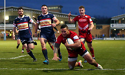 Alapati Leiua of Bristol Rugby scores a try - Mandatory by-line: Robbie Stephenson/JMP - 02/12/2017 - RUGBY - Castle Park - Doncaster, England - Doncaster Knights v Bristol Rugby - Greene King IPA Championship