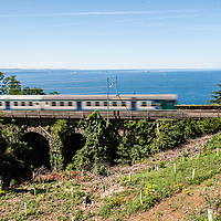 A regional train whizzes on the railway facing the coastline near Trieste, Italy.
