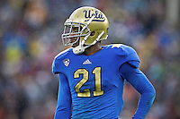 17 October 2012: Cornerback (21) Aaron Hester of the UCLA Bruins lines up against the USC Trojans during the second half of UCLA's 38-28 victory over USC at the Rose Bowl in Pasadena, CA.