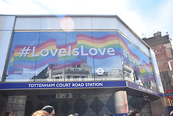 June 26, 2017 - London, United Kingdom - The facade of Tottenham Court Road Station has been covered with the rainbow colours to celebrate Pride London, June 26, 2017. (Credit Image: © Alberto Pezzali/NurPhoto via ZUMA Press)