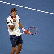 2017 U.S. Open Tennis Tournament - DAY TWELVE. Pablo Carreno Busta of Spain celebrates after winning the fist set against Kevin Anderson of South Africa during the Men's Singles Semifinal at the US Open Tennis Tournament at the USTA Billie Jean King National Tennis Center on September 08, 2017 in Flushing, Queens, New York City.  (Photo by Tim Clayton/Corbis via Getty Images)