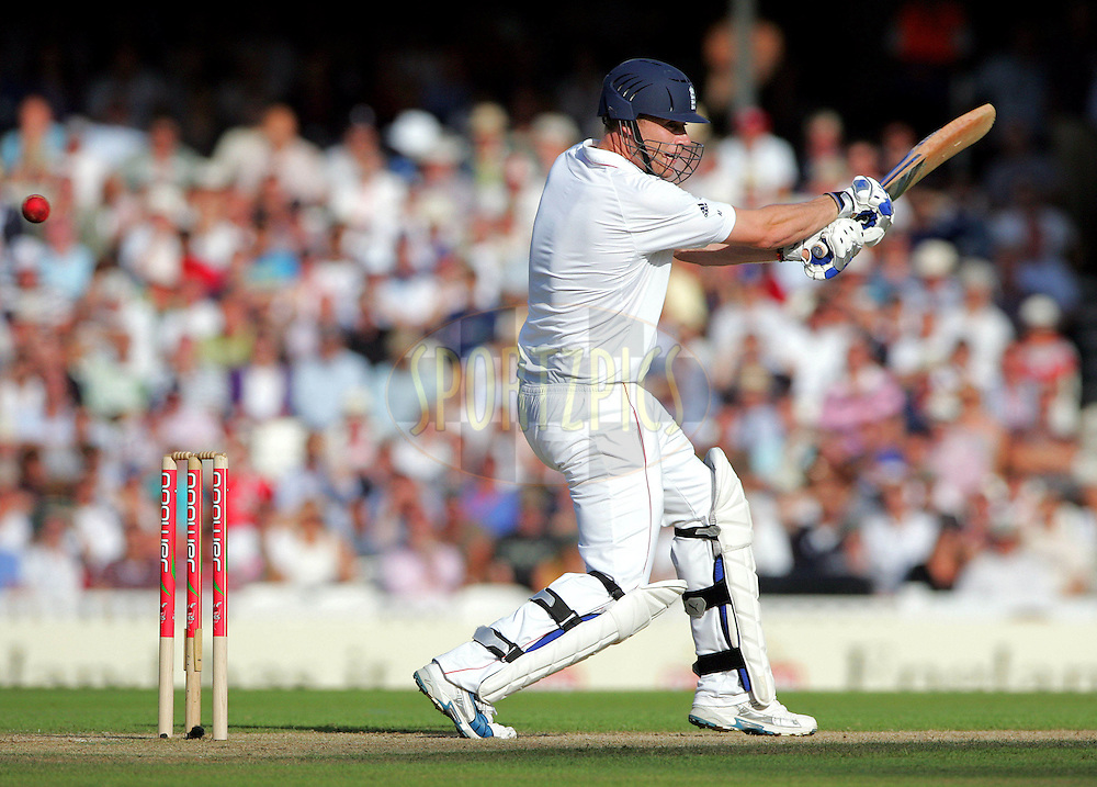 © SPORTZPICS / Seconds Left Images 2009 - Disappointing Andrew Freddie Flintoff flashes at a Mitchell Johnson ball edging it to Brad Haddin out for 7 runs -  England v Australia - The Ashes 2009 - 5th npower Test  Match - Day 1 - 20/08/09 - The Brit Oval - London -  UK - All Rights Reserved