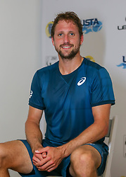 April 11, 2018 - Houston, TX, U.S. - HOUSTON, TX - APRIL 11:  Tennys Sandgren of the United States speaks to the press after defeating Nicolas Kicker of Argentina during the second round of the Men's Clay Court Championships on April 11, 2018 at River Oaks Country Club in Houston, Texas.  (Photo by Leslie Plaza Johnson/Icon Sportswire) (Credit Image: © Leslie Plaza Johnson/Icon SMI via ZUMA Press)