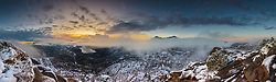"""""""Donner Summit Sunrise 1"""" - Stitched panoramic photograph of Donner Lake, Truckee, and Donner Summit at sunrise with the season's first snow."""