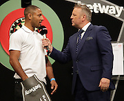 Kell Brook on stage at the Betway Premier League Darts at the Motorpoint Arena, Sheffield, United Kingdom on 9 April 2015. Photo by Glenn Ashley.