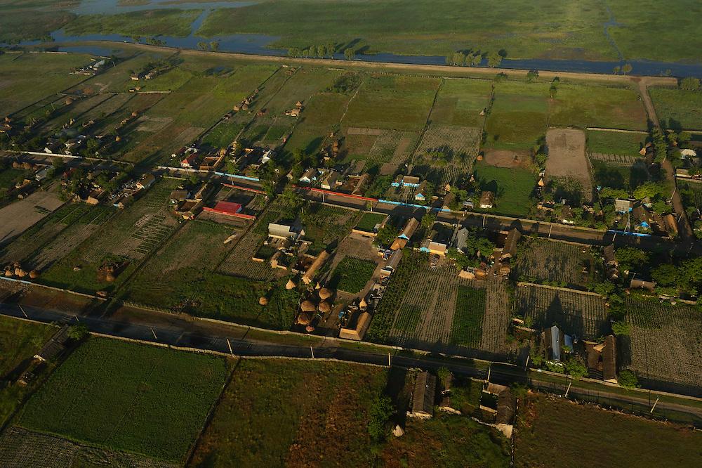 Aerials over the Danube delta rewilding area, Letea village,  Romania