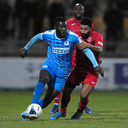 TELFORD COPYRIGHT MIKE SHERIDAN Ellis Deeney of Telford battles for the ball with Akwasi Asante during the Vanarama Conference North fixture between AFC Telford United and Chester at the 1885 Arena Deva Stadium on Saturday, December 21, 2019.<br /> <br /> Picture credit: Mike Sheridan/Ultrapress<br /> <br /> MS201920-035
