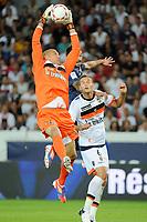 FOOTBALL - FRENCH CHAMPIONSHIP 2012/2013 - L1 - PARIS SG v FC LORIENT - 11/08/2012 - PHOTO JEAN MARIE HERVIO / REGAMEDIA / DPPI - FABIEN AUDARD / GREGORY BOURILLON (FCL) / EZEQUIEL LAVEZZI (PSG)