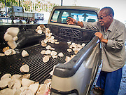 "15 DECEMBER 2014 - CHUM SAENG, RAYONG, THAILAND: A farmer throws raw latex out of the back of his pickup truck at a rubber buying station in Chum Saeng, Thailand. Thailand is the second leading rubber exporter in the world. In the last two years, the price paid to rubber farmers has plunged from approximately 190 Baht per kilo (about $6.10 US) to 45 Baht per kilo (about $1.20 US). It costs about 65 Baht per kilo to produce rubber ($2.05 US). Prices have plunged 5 percent since September, when rubber was about 52Baht per kilo. Some rubber farmers have taken jobs in the construction trade or in Bangkok to provide for their families during the slump. The Thai government recently announced a ""Rubber Fund"" to assist small farm owners but said prices won't rebound until production is cut and world demand for rubber picks up.     PHOTO BY JACK KURTZ"