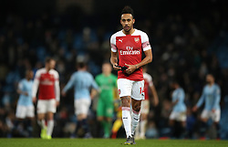 Arsenal's Pierre-Emerick Aubameyang reacts after the final whistle during the Premier League match at the Etihad Stadium, Manchester.