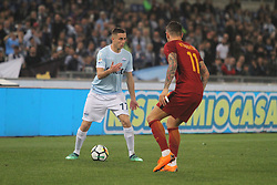 April 15, 2018 - Rome, Lazio, Italy - Adam Marusic versus Alexsandar Kolarov.at Stadio Olimpico of Roma. Lazio and Roma tied for 0-0 the ''derby della Capitale'' of Italian Serie A. (Credit Image: © Paolo Pizzi/Pacific Press via ZUMA Wire)