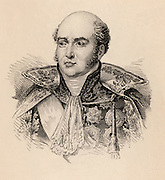 Louis Nicolas Davout or Davoust (1770-1823) Prince of Eckmul (1811) French soldier, educated at military academy with Napoleon Bonaparte; Marshal of France 1804. Served at Aboukir (1799) and through to the Russian campaign of 1812-1813. Engraving.