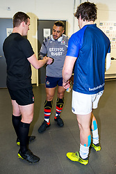 Captains Tusi Pisi (capt) of Bristol Rugby and Michael LeBourgeois (capt) of Bedford Blues take part in the coin toss before the game - Rogan/JMP - 28/01/2018 - RUGBY UNION - Ashton Gate Stadium - Bristol, England - Bristol Rugby v Bedford Blues - Greene King IPA Championship.