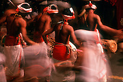 Sri Lanka. Kandyan drummers at the Kandy Perahera, an annual festival with hundreds of drummers, dancers, and elephants..<br />