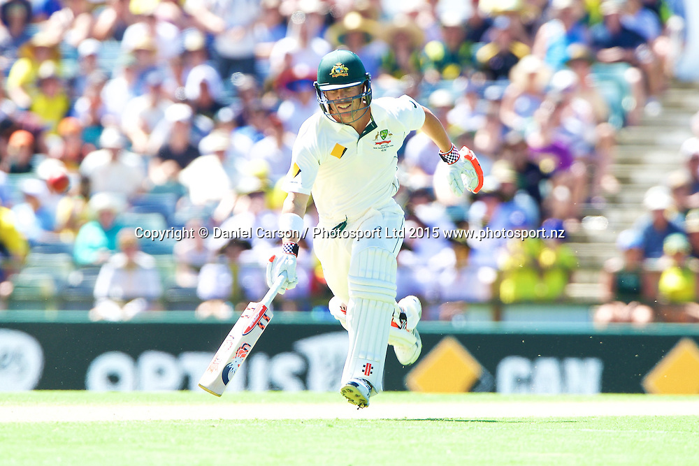 David Warner of Australia drives for a run during Day 1 on the 13th of November 2015. The New Zealand Black Caps tour of Australia, 2nd test at the WACA ground in Perth, 13 - 17th of November 2015.   Photo: Daniel Carson / www.photosport.nz
