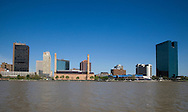 Skyline of Toledo, Ohio featuring the OI Building on the Maumee River