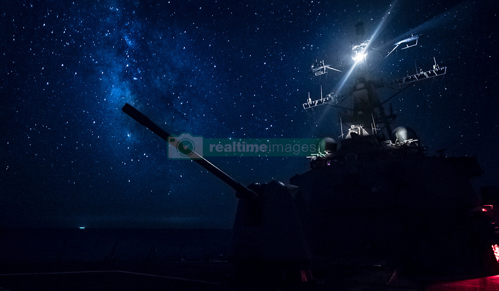 MEDITERRANEAN SEA (Aug. 11, 2018) The Arleigh Burke-class guided-missile destroyer USS Carney (DDG 64) transits the Mediterranean Sea. Carney, forward-deployed to Rota, Spain, is on its fifth patrol in the U.S. 6th Fleet area of operations in support of regional allies and partners as well as U.S. national security interests in Europe and Africa. (U.S. Navy photo by Mass Communication Specialist 1st Class Ryan U. Kledzik/Released)180811-N-UY653-386