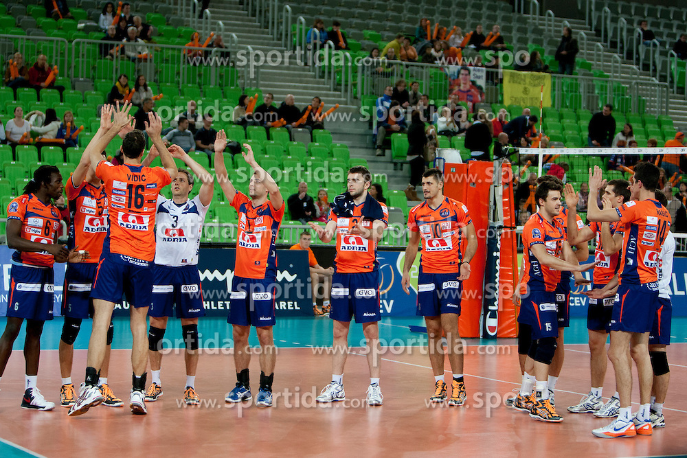 Team ACH Volley during volleyball match between ACH Volley (SLO) and Euphony Asse-Lennik (BEL) in 3rd Leg of Pool D of 2013 CEV Champions League on November 14, 2012 in Arena Stozice, Ljubljana, Slovenia. (Photo By Urban Urbanc / Sportida)