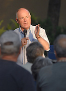 Michigan Congressional Representative and potential gubernatorial candidate Pete Hoekstra answers a question from an audience member at a Tax and Spend Must End sponsored rally in Petoskey, Michigan's Pennsylvania Park.