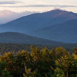 """The Horn"" on Saddleback Ridge as seen from Quill Hill in Reddington Township, Maine. High Peaks region near Rangeley. Appalachian Trail."